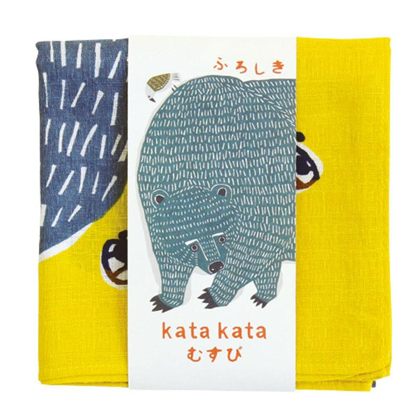 Kata Kata Furoshiki Wrap: Bear and Bird Yellow