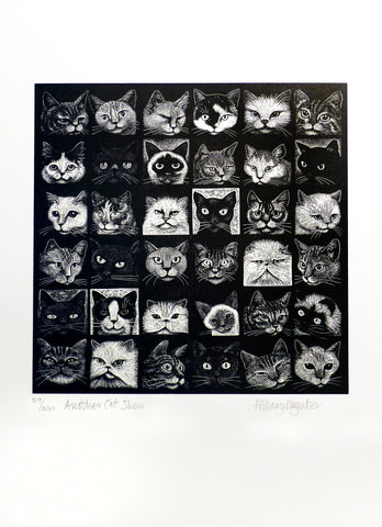 Hilary Paynter Wood Engraving: Another Cat Show