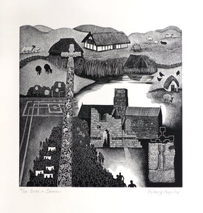 Hilary Paynter Wood Engraving: Bede and Jarrow