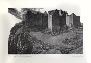 Hilary Paynter Wood Engraving: Castell Carreg Cemmen