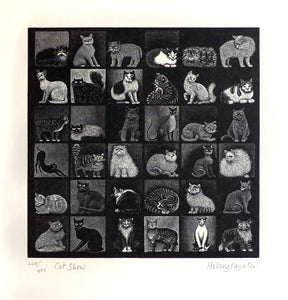 Hilary Paynter Wood Engraving: Cat Show