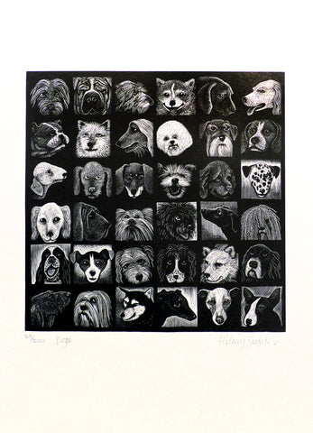 Hilary Paynter Wood Engraving: Dogs