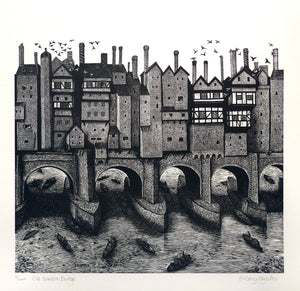 Hilary Paynter Wood Engraving: Old London Bridge
