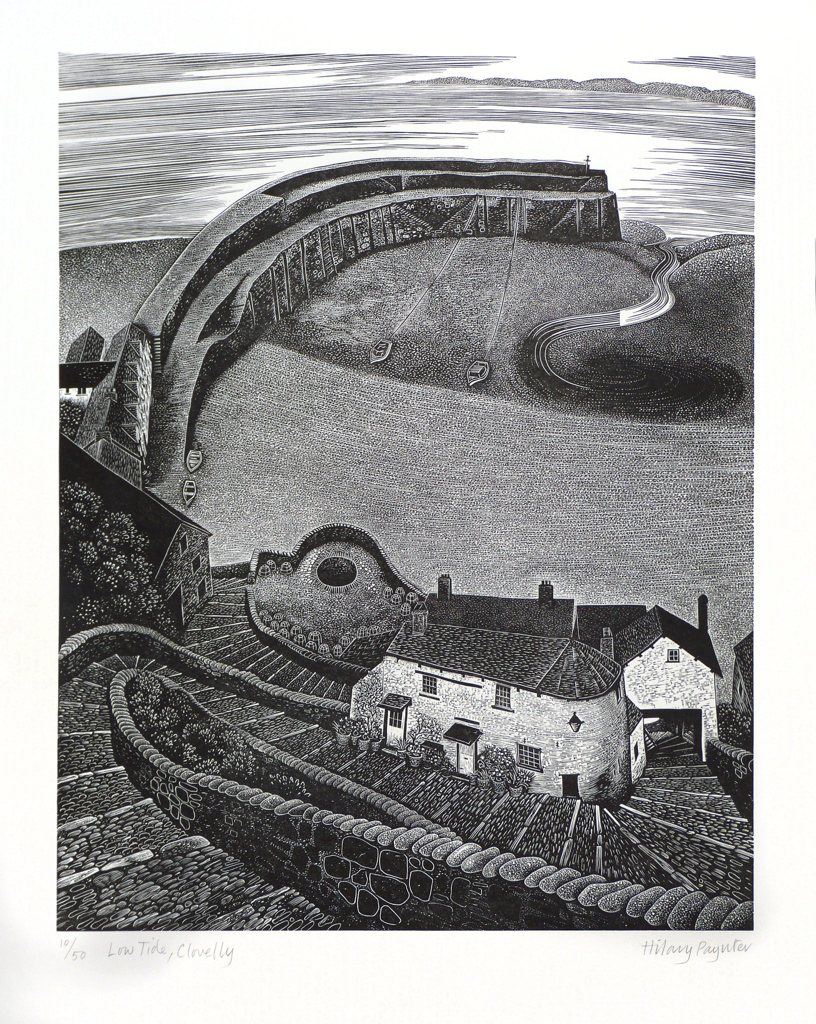 Hilary Paynter Wood Engraving: Low Tide, Clovelly
