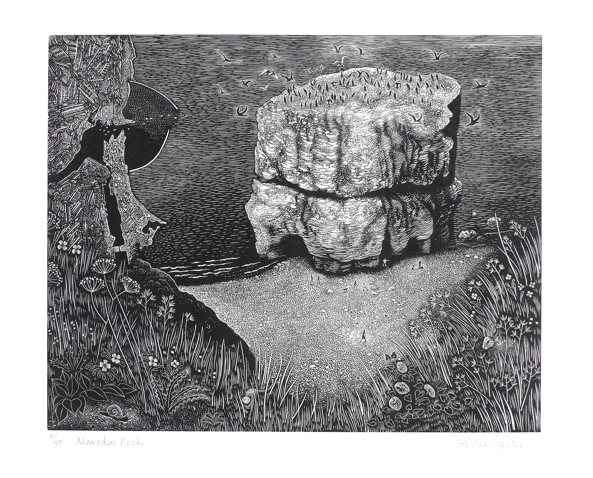 Hilary Paynter Wood Engraving: Marsden Rock