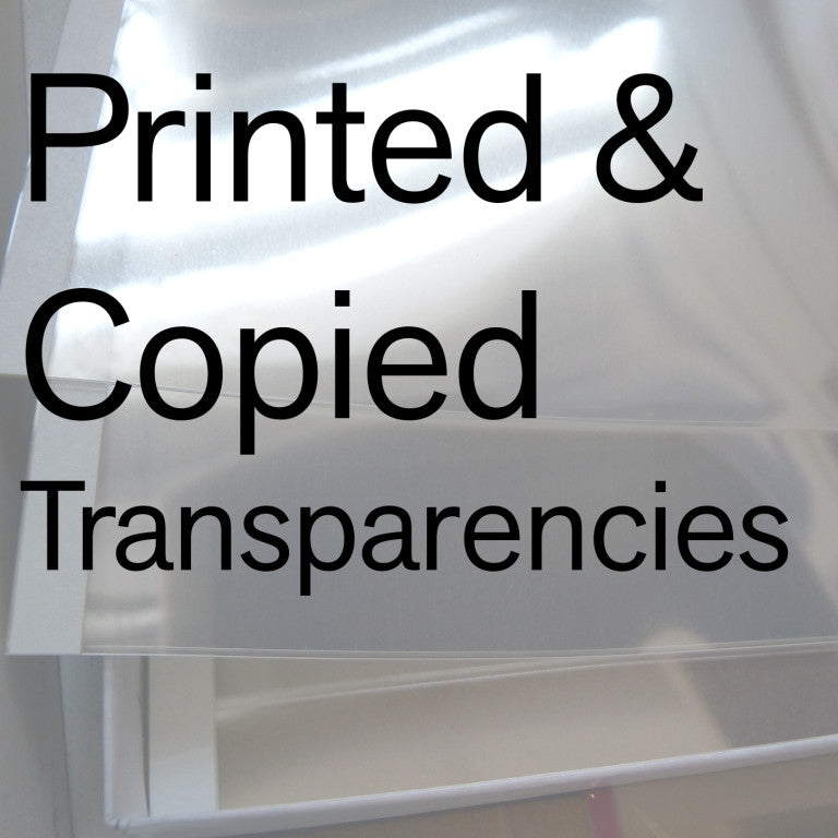 Printed and Photocopied Transparencies (smaller acetate sizes)