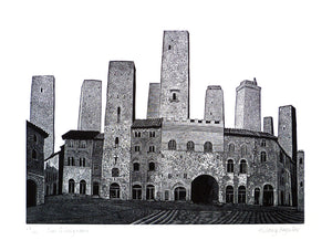 Hilary Paynter Wood Engraving: San Gimignano