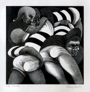 Hilary Paynter Wood Engraving: Scrum