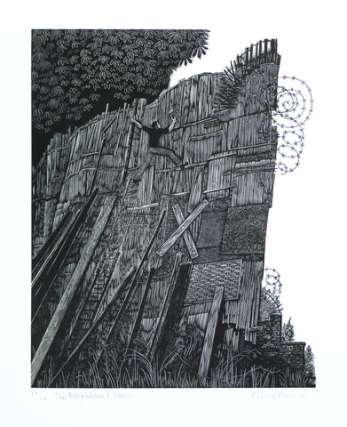 Hilary Paynter Wood Engraving: The Neighbour's Fence