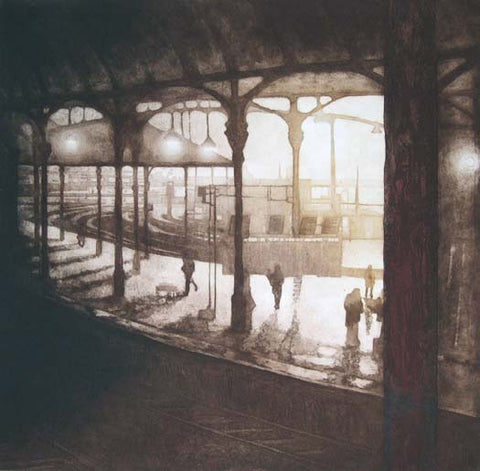 Anja Percival. Etching: Station Light I