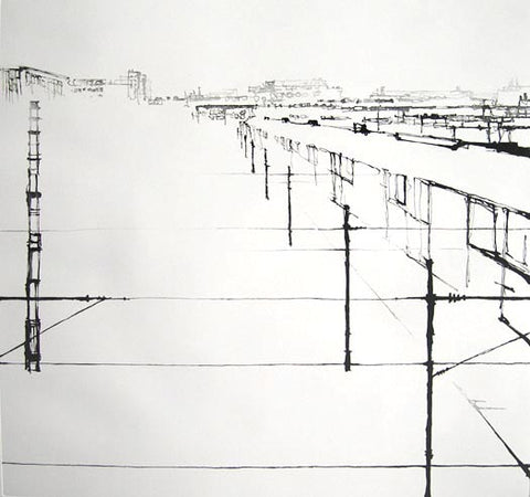 Anja Percival. Etching: Station Lines II