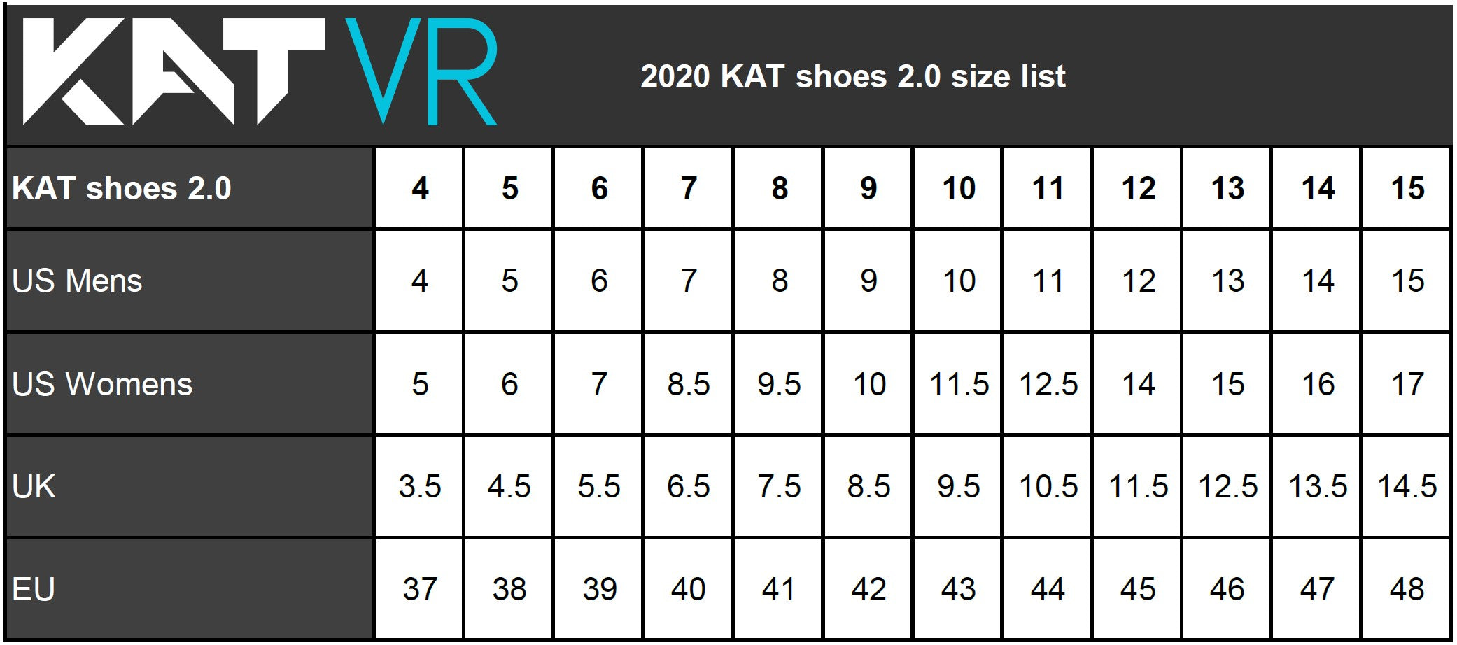 Kat Walk C shoe sizes