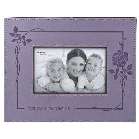 I Have You In My Heart Purple LuxLeather Photo Frame