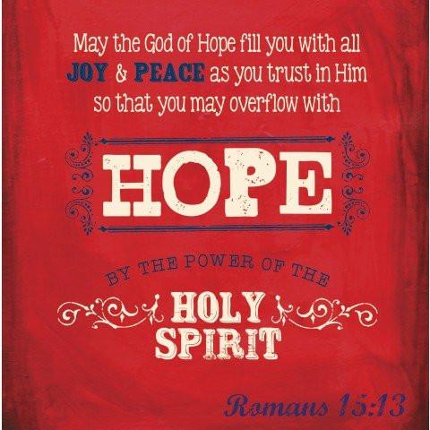 May The God Of Hope Fill You Red Small Wooden Decor Blocks.