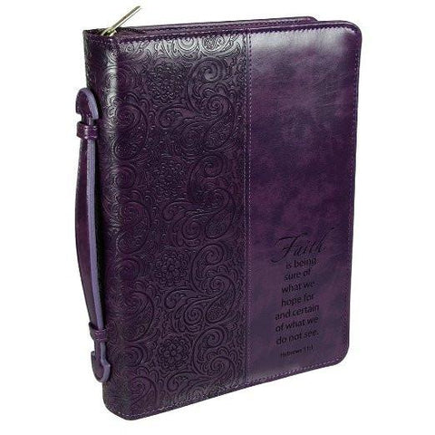 "Purple ""Faith"" Bible/Book Cover - Hebrews 11:1 (Medium) - New Chapter Bookstore"