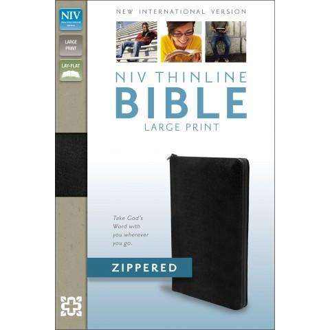 NIV Thinline Zippered Large Print (Black Bonded Leather)Bible