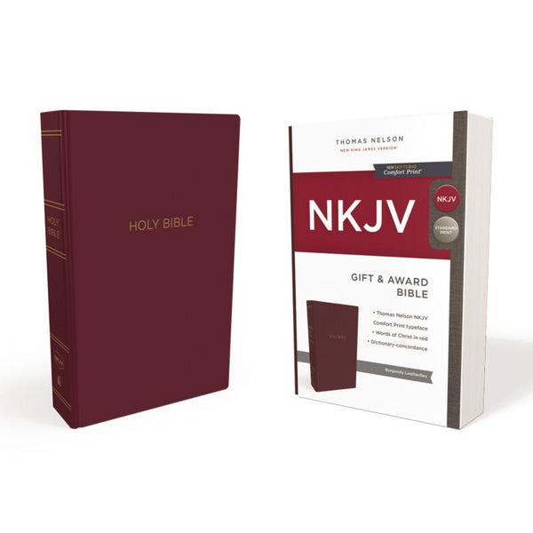 NKJV Gift and Award Bible, Leather-Look, Burgundy