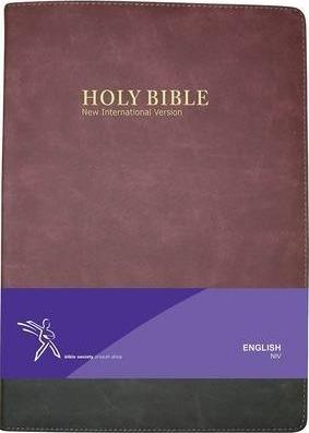 Maroon and Charcoal Bonded Leather - NIV Large Print Bible (Thumb indexed)
