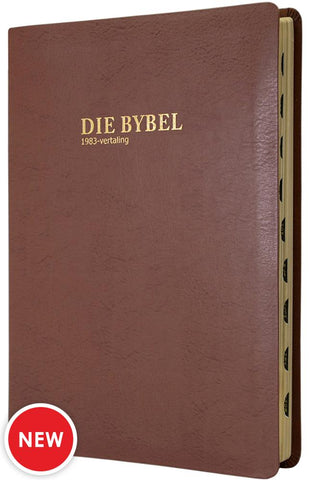 Afrikaans Bybel 1983, Large Print, luxury tan bonded leather cover, gilt-edged, thumb index