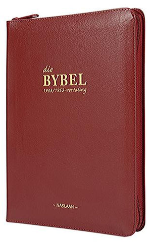 Afrikaans Bible 1933/1953, medium size, red bonded leather cover with zip, thumb index