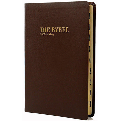 Afrikaans 2020 Bible, Capital letter, medium size, (brown bonded leather cover) Thumb index, gilt-edged)