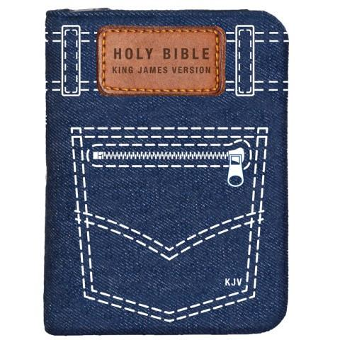 KJV Pocket Edition Denim With Zip (Softcover) Compact Bible