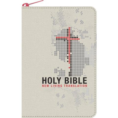 NLT Compact Canvas Cream & Red With Zip (Softcover) Compact Bible