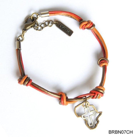 Orange & bronze leather with Africa bracelet
