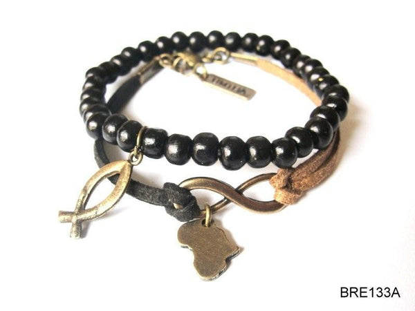 Duo with Africa & fish symbol bracelet