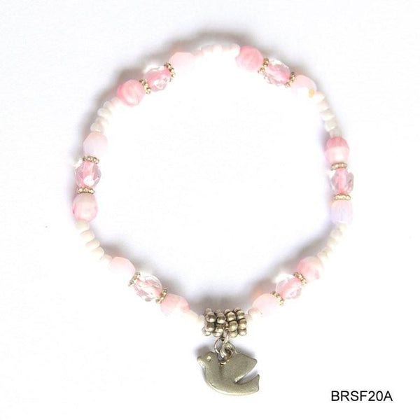 Pink beads with dove bracelet