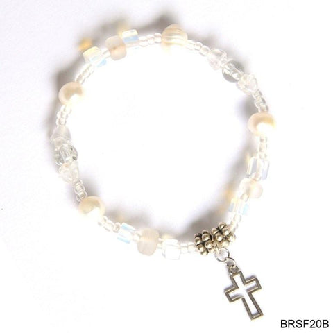 Cream beads with cross bracelet
