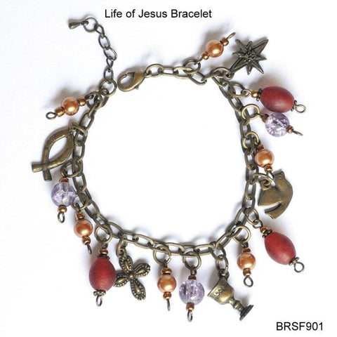 AB Life of Jesus - red & purple Charm Bracelet