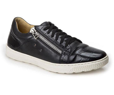 Cassius Black Leather Side-Zip Sneaker