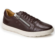 Cassius Brown Leather Side-Zip Sneaker - Sandro Moscoloni
