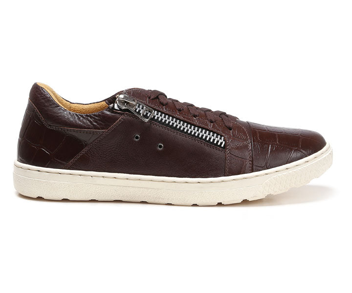Sandro Moscoloni Cassius Brown Leather Side-Zip Sneaker - Sandro Moscoloni