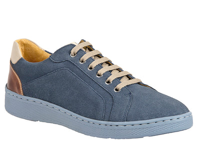 Trendy Blue Plain Toe 6 Eyelet Sneaker