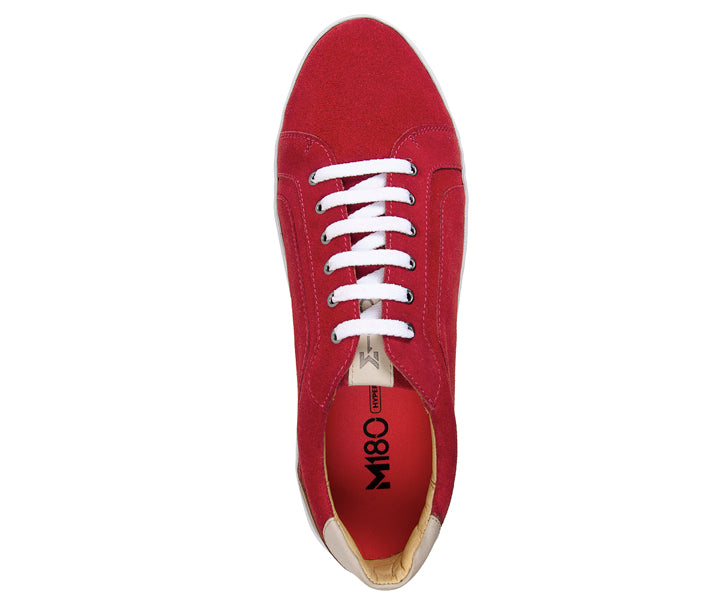 Trendy Red Plain Toe 6 Eyelet Sneaker