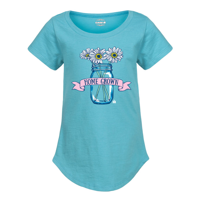 Home Grown Mason Jar Flowers - Youth Girl T-Shirt - Aqua