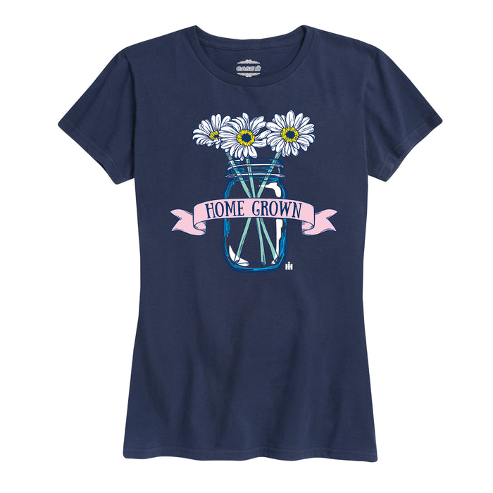 Home Grown Mason Jar Flowers - Women's Classic Fit T-Shirt - Navy
