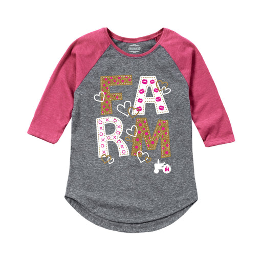 International Harvester™ - Farm Gold Glitter - Toddler Girl Raglan