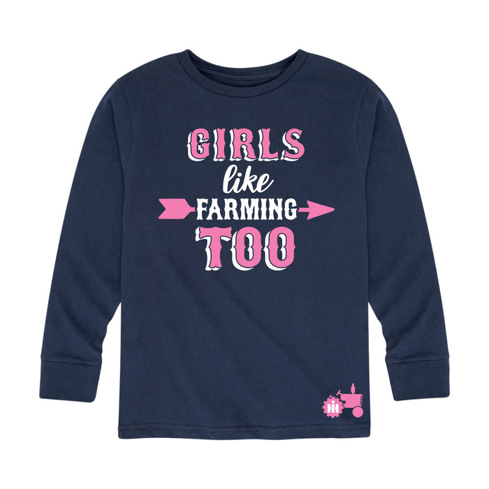 International Harvester™ Girls Like Farming Too - Toddler Girl Long Sleeve T-Shirt