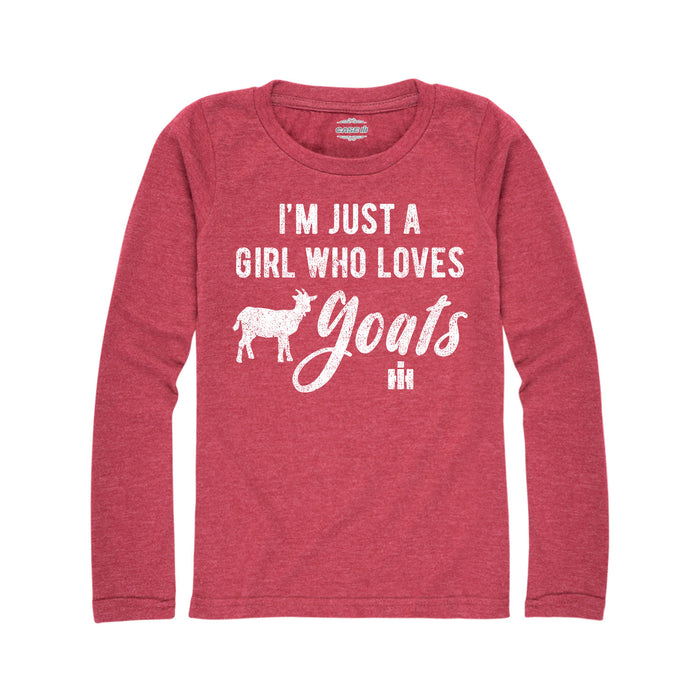I'm Just A Girl Who Loves Goats  International Harvester™-Youth Girl Long Sleeve T-Shirt