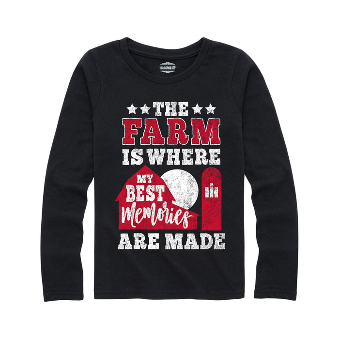 The Farm is Where my Best Memories are Made  International Harvester™-Youth Girl Long Sleeve T-Shirt
