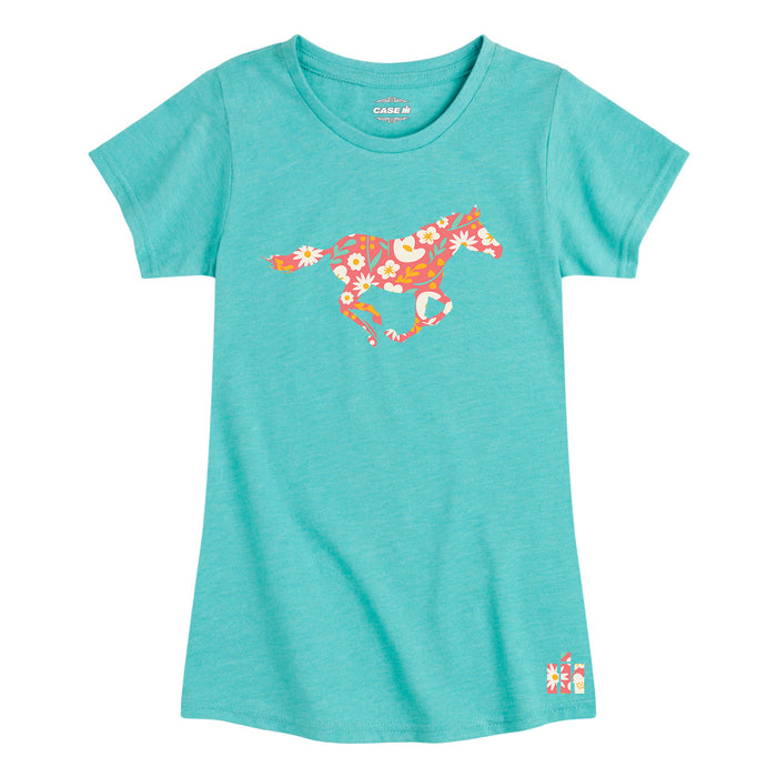 International Harvester™ - Floral Running Horse - Youth & Toddler Girls Short Sleeve T-Shirt