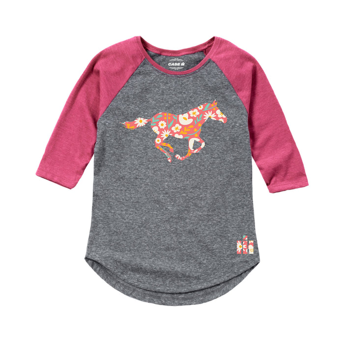 International Harvester™ - Floral Running Horse - Youth & Toddler Girls Raglan