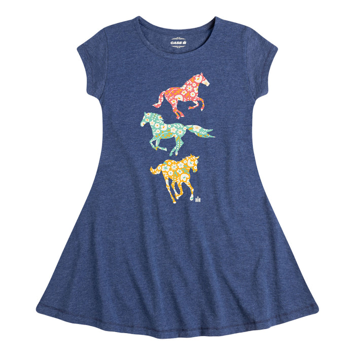 International Harvester™ - Patterned Filled Horses - Youth & Toddler Fit and Flare Dress
