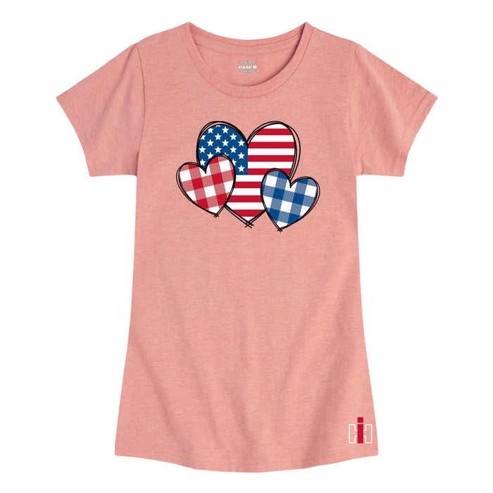 International Harvester™ - USA Patterned Hearts - Youth & Toddler Girls Short Sleeve T-Shirt