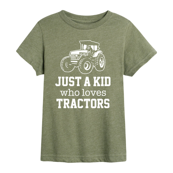 Just A Kid Who Loves Tractors - Youth Short Sleeve T-Shirt