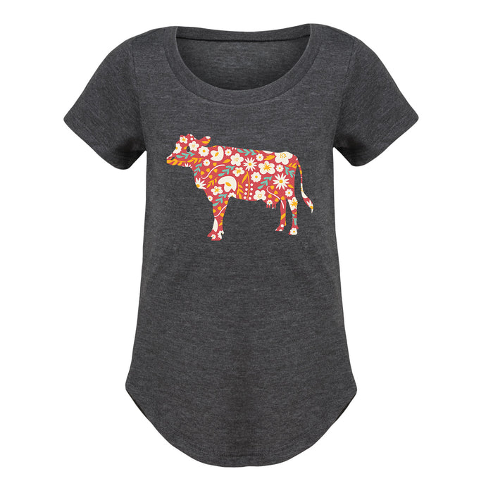 Floral Print Cow - Youth Girl Short Sleeve T-Shirt