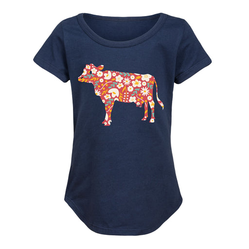 Floral Print Cow - Toddler Girl Short Sleeve T-Shirt
